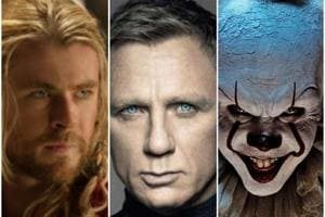 Chris Hemsworth, Daniel Craig and Bill Skarsgarg in stills from Thor: The Dark World, Skyfall and It.