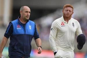England wicket-keeper Jonny Bairstow leaves the field at Trent Bridge after fracturing his finger.
