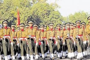 HT FILE PHOTO - Dehradun, India - Dec 03 :: Gentlemen Cadets marching in front of the Chetwood building at IMA in Dehradun, India. /HT Photo