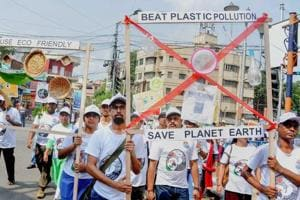 Students and staff of Zoological Survey of India participate in an awareness rally ahead of World Environment Day in Kolkata on Monday, June 04, 2018.