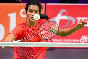 PV SIndhu in action against Gregoria Mariska Tunjung at Asian Games 2018.