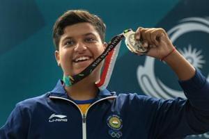Palembang: Indian shooter Shardul Vihan celebrates after winning silver medal in Men