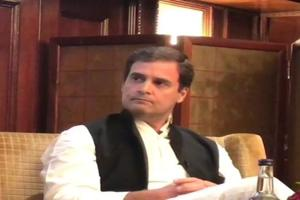 Rahul Gandhi addressing the Indian Journalists Association in London on Saturday.