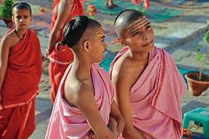 Young Sanskrit scholars (batuks) in Varanasi.
