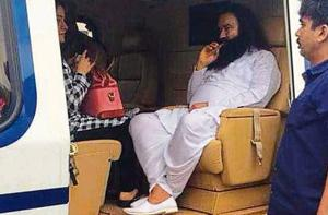 Gurmeet Ram Rahim Singh and his aide, Honeypreet, being flown to Sunaria jail near Rohtak after he was convicted by a CBI court in Panchkula on August 25, 2017.