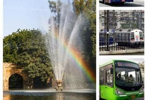 Sunlight cutting a fountain in Lodi Gardens creates a rainbow. (Right) Metro and buses in Delhi, which are in different colours of the VIBGYOR.