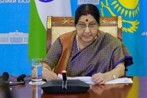 External affairs minister Sushma Swaraj in Astana.