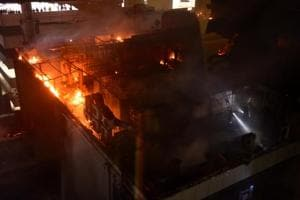 Massive fire at restaurant in Kamala Mill Compound, Lower Parel in Mumbai on  December 29, 2017.