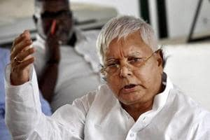 File photo of RJD chief Lalu Prasad addressing a press conference in Patna.