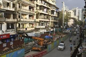 Metro-3 work in progress at Girgaum in Mumbai on August 24, 2018.
