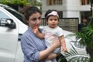 Soha Ali Khan with her daughter Inaaya Naumi Kemmu at Mumbai