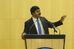 G Satheesh Reddy speaking in Noida.