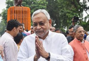 Bihar Chief Minister Nitish Kumar after paying tribute to former Bihar CM and chairman of the Second Backward Classes Commission Bindheshwari Prasad Mandal on his 100th birth anniversary, in Patna on Saturday, Aug 25, 2018.