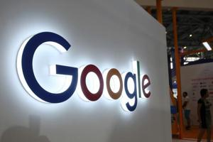 This photo taken on August 23, 2018 shows the Google logo on display in China