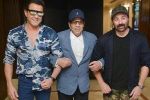 New Delhi: Bollywood actor Dharmandra with his sons Bobby Deol and Sunny Deol during a music launch for their upcoming film Yamla Pagla Deewana Phir Se, in New Delhi on Friday, August 24.