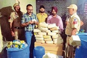 Health department officials during an inspection in Phagwara on Sunday.