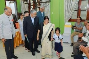 External affairs minister Sushma Swaraj at the Jaipur foot camp in Hanoi on August 27.