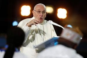 Pope Francis speaks during the Festival of Families at Croke Park during his visit to Dublin, Ireland on August 25.