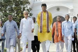Tripura chief minister Biplab Deb along with deputy chief minister Jishnu Debbarma in Agartala.