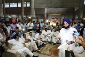 Shiromani Akali Dal MLAs during a mock assembly session in the lobby of the Punjab Vidhan Sabha on the last day of the monsoon session on Tuesday.