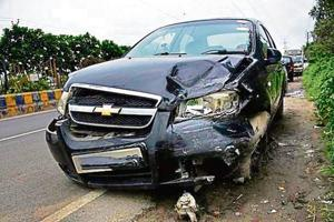 The Chevrolet sedan which was damaged in the head-on collision with a Maruti van being driven on the wrong side.
