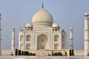 A deserted view of Taj Mahal in Agra ahead of visit by Belgian Royal couple King Philippe and Queen Mathilde.