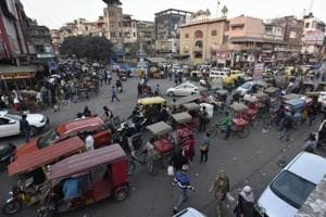 A view of Chandni Chowk, Delhi. Motorised vehicles soon be banned between 9 am and 9 pm daily in the Walled City locality under a new proposal that has been approved by the L-G.