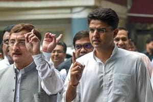 Congress Party leaders Avinash Pandey and  Sachin Pilot (right) and others leave after a meeting with Election Commissioner at Nirvachan Sadan, in New Delhi on Tuesday, Aug 14, 2018.