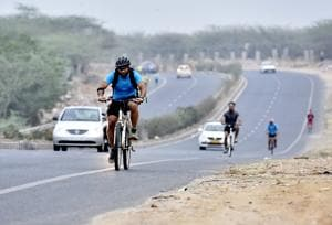 Gurugram-Faridabad road remains popular with cyclists, runners, and bikers but is full of hazards, in Gurugram.