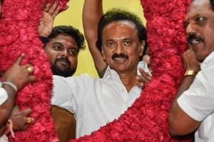 Congress president Rahul Gandhi was among the first political leaders to congratulate MK Stalin (pictured) after he took over as DMK chief on Tuesday.