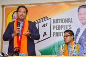 Meghalaya chief minister Conrad K Sangma addresses a party meeting in Guwahati.
