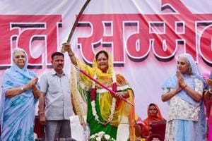 Rajasthan Chief Minister Vasundhara Raje during Women Shakti Conference in
