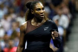 Serena Williams during her first round match against Magda Linette of Poland at USOpen tournament.