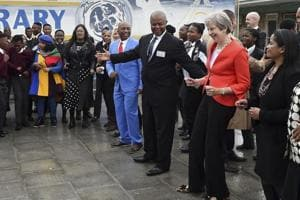 British Prime Minister Theresa May during a visit to the ID Mkhize High School in Gugulethu, Cape Town, South Africa, on Tuesday.