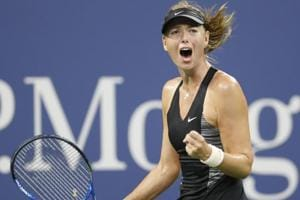 Aug 28, 2018; New York, NY, USA; Maria Sharapova of Russia celebrates after winning a point in the first set of a first round match against Patty Schnyder of Switzerland on day two of the 2018 U.S. Open tennis tournament