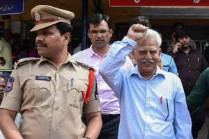Revolutionary writer P Varavara Rao after a medical chek-up following his arrest by the Pune police in connection with the Bhima Koregaon case, in Hyderabad on Tuesday.