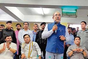 Manipur CMN Biren Singh tweeted this photo of him addressing students at JNU.Also seen are Assam CM Sarbananda Sonowal (second from left) and Arunachal CM Pema Khandu (second from right).