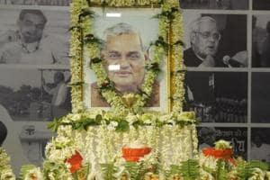 Urns containing ashes of former Prime Minister Atal Bihari Vajpayee kept at Bharatiya Janata Party (BJP) office in Kolkata, August 23, 2018.  The south Delhi civic body has decided to name its HQs after the late PM.