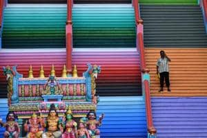 The newly-painted 272-steps staircase leading to Malaysia