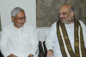 Chief minister Nitish Kumar with BJP national president Amit Shah during the latter