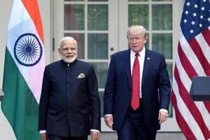 Prime Minister Narendra Modi meets USPresident Donald Trump at the White House, in Washington DC.