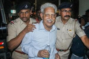 Varavara Rao, arrested in connection with the Bhima Koregaon case, being produced at a court in Pune on Wednesday, Aug 29, 2018.