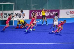 Jakarta: Japanese players celebrate after scoring a goal against India in the women