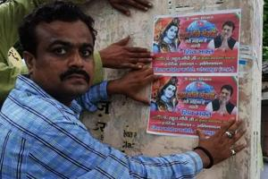 Congress workers in Gorakhpur put up posters on Thursday describing party president Rahul Gandhi as a devotee of Lord Shiva.