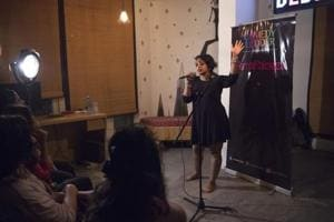 Indian stand-up comedian Naomi Barton (C) performs at Femapalooza, an Indian women-only comedy show, in New Delhi.