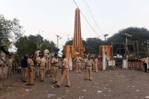 Police personnel at Bhima Koregaon Vijay Stambh after the violence on January 1, 2018.  A senior official from Pune police monitoring the probe told Hindustan Times on the condition of anonymity that preparations for creating unrest during the Bhima Koregaon violence began eight months before the incident.
