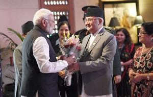 Prime Minister Narendra Modi being received by the Prime Minister of Nepal KP Sharma Oli, at the inaugural session of the 4th BIMSTEC Summit in Kathmandu, Nepal, August 30