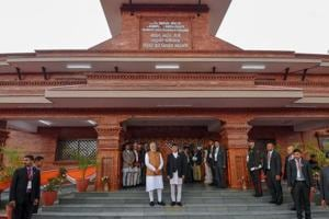 Prime Minister Narendra and his Nepalese counterpart KP Sharma Oli at the inauguration of Pashupati Nath Dharamshala at Tilganga in Kathmandu on Friday.