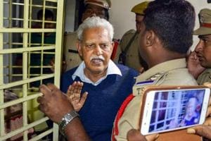Poet-Social activist Varavara Rao as he returns home to be placed under house arrest, in Hyderabad on Thursday, Aug 30, 2018. Supreme Court gave relief to Rao and four other rights activists, who were arrested for their alleged role in Bhima Koregaon violence.