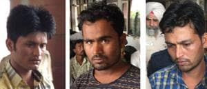 (From left) Convicts Mohammad Garib (26), Kismat Ali (24) and Mohammad Irfan (29).